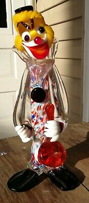 Vintage MURANO Multicolor Glass Clown With Saxophone Italy Venetian 9 inches #1