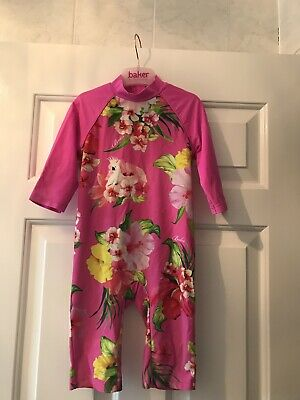Baker by Ted Baker Girls pink floral sunsafe swim Suit swimming costume 18-24