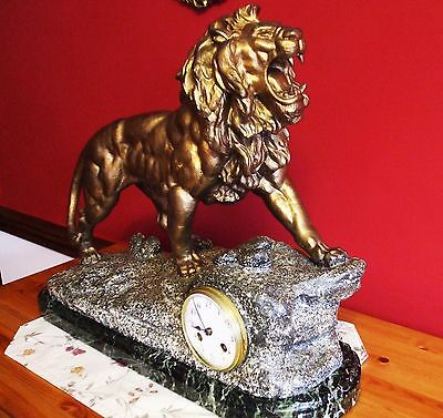 RARE Large French Figural LION Clock, T. F. Cartier, c.1910