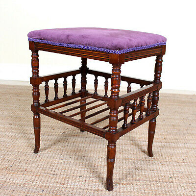 Antique Piano Stool 19th Century Music Stool Mahogany Victorian