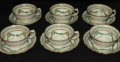 M} 6 tasses & Soucoupes Faïence anglaise 19è POINTONS STOKE-ON-TRENT Victorian