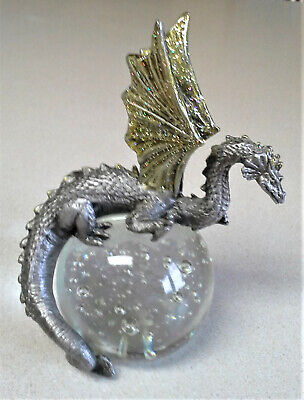 """Large Silver/Gold Pewter Dragon On Glass Orb  -  6"""" tall - 2 3/4"""" Crystal Ball"""