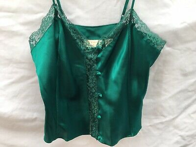 Vintage Victoria's Secret Sz S Gold Label Green Satin Lace Cami Slip Blouse Top