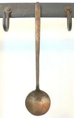 "Antique 19th C PA HAND Forged WROUGHT IRON Tasting Spoon 9"" Tiny CHILD SIZE #1"