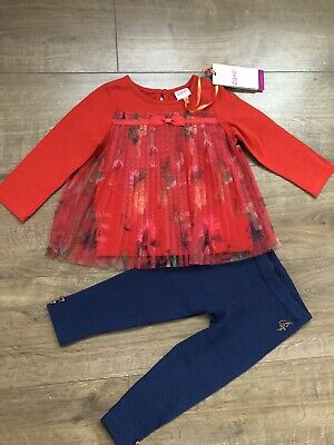 New Ted Baker Baby Girls Mesh Outfit Set Top And Leggings Size 12-18 Months
