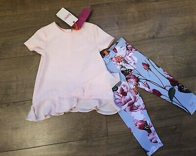 New Ted Baker Baby Girls 2 Pcs Outfit Top & Leggings Size 12-18 Months