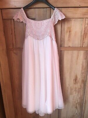 Monsoon Girls Dress Age 9-10 Years Old Party Peach/Pink Used Once Exc Condition