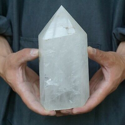 "4.01LB 7.1"" Natural Clear White Quartz Crystal Point Tower Polished Healing"