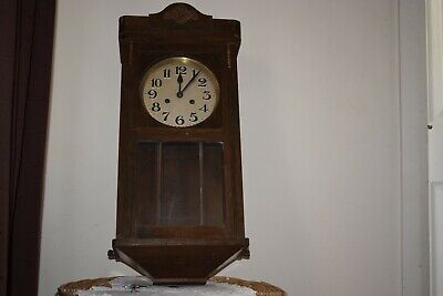 "Vintage  Wooden Wall Hanging Clock Key Winding 24"" Long"