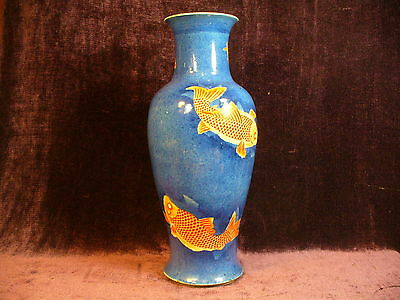 "Antique Chinese Kangxi powder blue porcelain vase 17.25"" good condition"