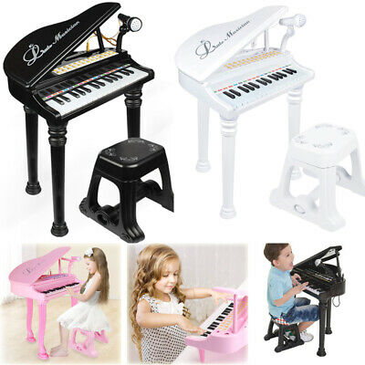 Boy Girl Kids Electronic Musical Keyboard Grand Piano with Stool Microphone Toy