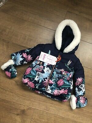New Ted Baker Baby Girls Navy Resistant Coat With Mittens Size 6-9 Months