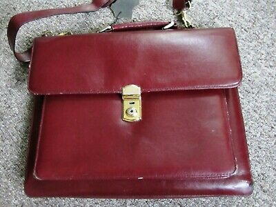 Vintage Burgundy Red Maroon Leather Document Expandable Briefcase Messanger Bag