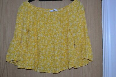 Girls M & S Ochre Yellow & White Top With Frill Sleeves & Elasticated Neck 9-10