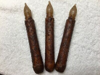 "THREE Primitive Burnt Mustard LED 6.5"" Battery Operated TIMER Taper Candles"