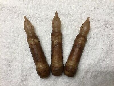 """THREE Primitive Country Tan LED 4.5"""" Battery Operated TIMER Taper Candles"""