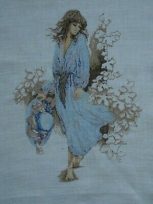 Lanarte Sara Moon Summer Wind Lady in Blue completed cross stitch picture LARGE