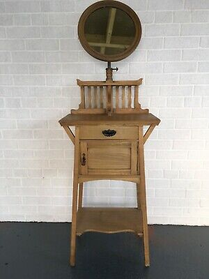 Antique Aesthetic Movement Ash shaving mirror -  Make up stand,Chinoiserie,