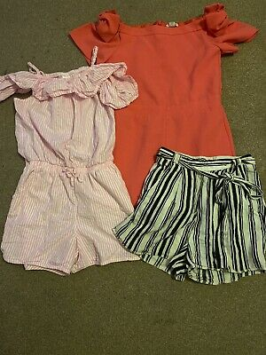 girls clothes Bundle Age 10 Years Next River Island New Look 2x Playsuit Shorts