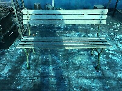 Antique Garden Bench, Wrought Iron And Wooden Bench