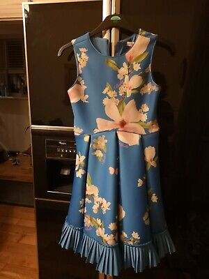 Girls Age 14 Blue Floral Dress New With Tags by Baker