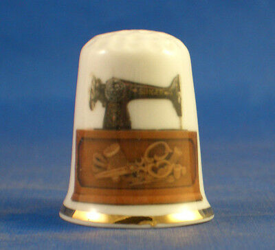 Birchcroft China Thimble -- Early Singer Sewing Machine - Free Dome Gift Box