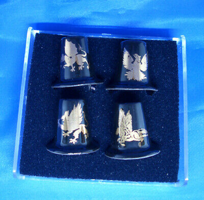 Birchcroft Porcelain China Collectable Fruit Paintings Gold Top Set of Four Thimbles