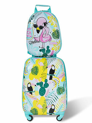 2PC Kids Luggage Set Backpack & Rolling Suitcase Travel ABS Flamingos