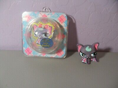 LITTLEST PET SHOP PUNKIEST PURPLE VAMPIRE BAT With Display BLUE STAR EYES NO #