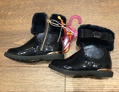 New Ted Baker Girls Navy Fur Cuff Boots Shoes Size Infant UK 6 EUR 23