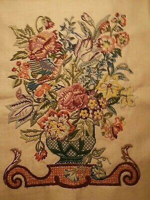 Vintage Crewel work embroidery Flowers Bird Vase Bouquet embroidered picture
