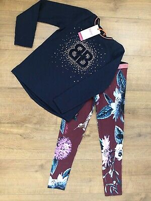 New Ted Baker Girls 2pcs Outfit Set Long Sleeved Top & Leggings Size 9-10 Years