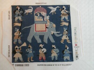 Ehrman Blue Indian Elephant completed tapestry picture panel cushion front
