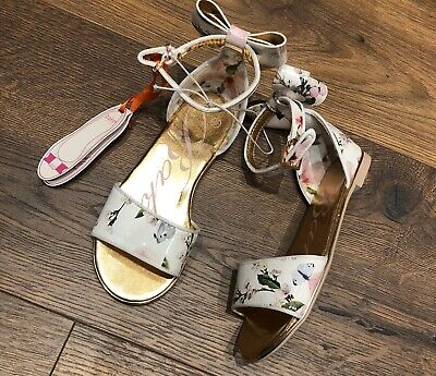 New Ted Baker Girls Harmony White Floral Sandals Shoes Size Kids UK 12 EUR 31
