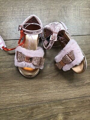 New Ted Baker Girls Pink Fur Sandals Shoes Size Kids UK 8 EU 25 rrp£32