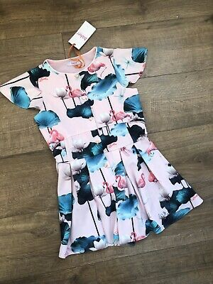New Ted Baker Girls Pink Floral Flamingo Jumpsuit Playsuit Size 8 Years rrp£39