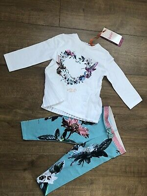 New Ted Baker Baby Girls 2pcs Outfit Set Top And Leggings Size 12-18 Months