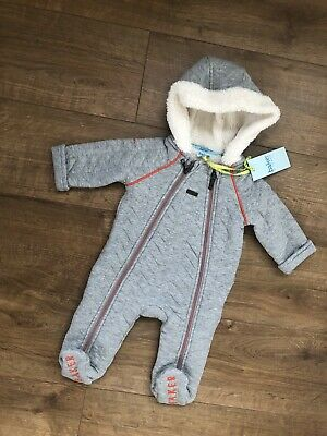 New Ted Baker Baby Boys Grey Geo Snugglesuit Pramsuit Size 3-6 Months