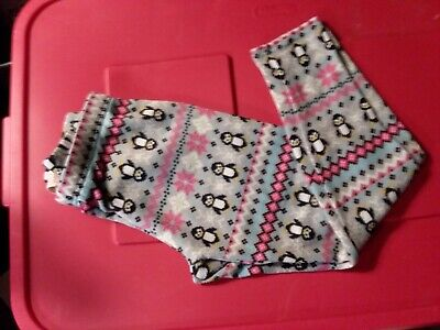 Gray with penguins knit leggings size Med (7-10)