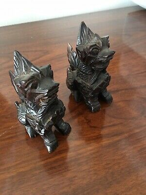 Two Carved Wood Chinese Foo Dogs