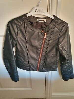 Girls Black Faux Leather Jacket Rose Gold Zip. H&M. Age 8 Years