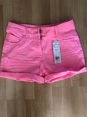 Brand New With Tags Girls Pink Denim Shorts Age 12-13 Yrs