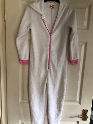 Girls White/pink Hooded All-in -one Age 9-10yrs
