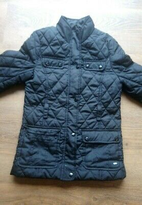 Girls black quilted puffa winter coat jacket age 9-10 years Good Condition