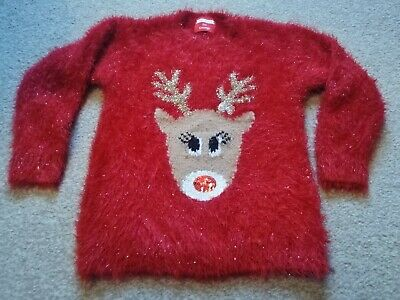 Girls Red Fluffy Christmas Jumper 8 - 9 Years George