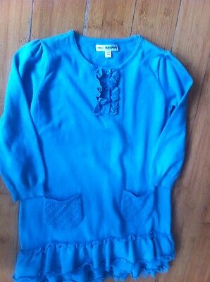 Girls M&S Jumper  Turquoise Dress Age 3-4 Yrs