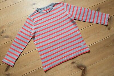 Boys Mini Boden Grey/Red Striped Cotton Top. Childrens/Kids Age 5-6 Years.