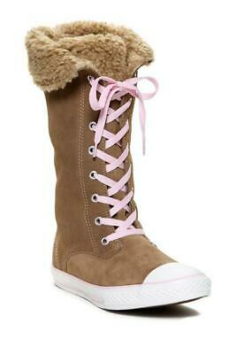 Size UK 4 Girls Converse Suede High Boots Shearling Lining Brown Pink All Stars