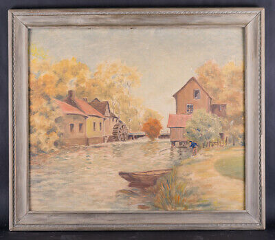 "Early 20th Century American Impressionist Oil Painting ""Watermill Scene"" Signed"