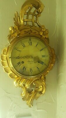 Very Pretty Pendulum wood gilt cartel wall Clock